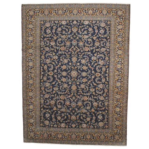 Persian Hand Knotted Kashan Silk And Wool Area Rug Ebth: Herat Oriental Semi-antique 1960's Persian Hand-knotted