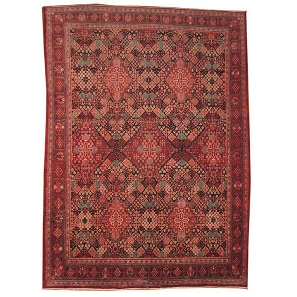 Herat Oriental Hand Tufted Wool Red Black Area Rug: Shop Handmade Herat Oriental Semi-antique 1950's Persian