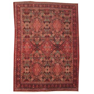 Herat Oriental Semi-antique 1950's Persian Hand-knotted Josheghan Red/ Black Wool Rug (9'8 x 13'1)