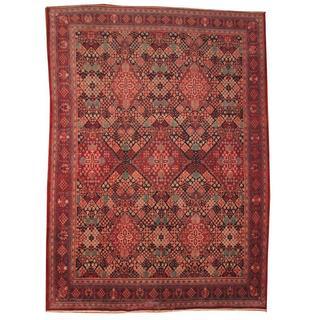 Handmade Herat Oriental Semi-antique 1950's Persian Josheghan Red/ Black Wool Rug (Iran) - 9'8 x 13'1