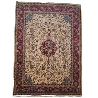 Herat Oriental Semi-antique 1960's Persian Hand-knotted Sarouk Ivory/ Red Wool Rug (10' x 13'6)