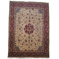 Handmade Herat Oriental Semi-antique 1960's Persian Sarouk Ivory/ Red Wool Rug (Iran) - 10' x 13'6