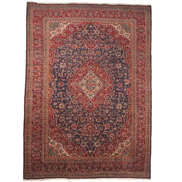 Herat Oriental Semi-antique 1960's Persian Hand-knotted Kashan Navy/ Red Wool Rug (9'9 x 13'3)