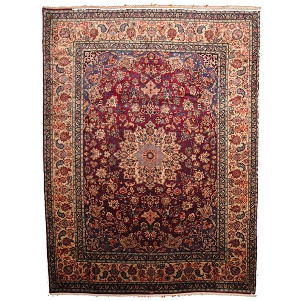 Hand Knotted Persian Isfahan Wool Area Rug: [Handmade] Herat Oriental Semi-antique 1960's Persian Hand