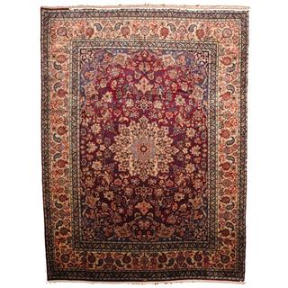 Herat Oriental Semi-antique 1960's Persian Hand-knotted Isfahan Burgundy/ Navy Wool Rug (9'7 x 13')
