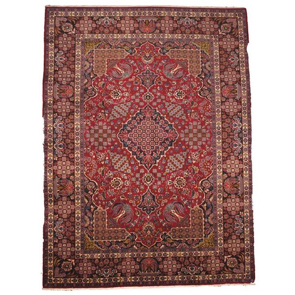 Handmade Herat Oriental Semi-antique 1960's Persian Kashan Red/ Black Wool Rug - 9'7 x 13'3 (Iran)