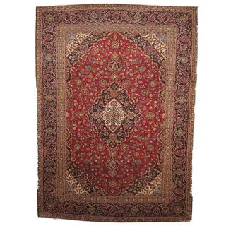 Herat Oriental Semi-antique 1960's Persian Hand-knotted Kashan Red/ Navy Wool Rug (9'6 x 13'2)