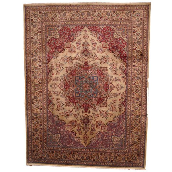 Herat Oriental Semi-antique 1960's Persian Hand-knotted Mashad Tan/ Red Wool Rug - 9'7 x 13'
