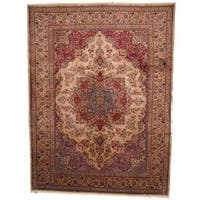 Herat Oriental Semi-antique 1960's Persian Hand-knotted Mashad Tan/ Red Wool Rug (9'7 x 13')