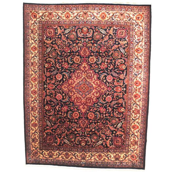 Herat Oriental Signature Semi-antique 1960's Persian Hand-knotted Mashad Navy/ Maroon Wool Rug (9'10 x 13'2) - 9'10 x 13'2