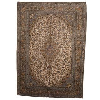 Herat Oriental Semi-antique 1950's Persian Hand-knotted Kashan Beige/ Olive Wool Rug (9'7 x 13'3)