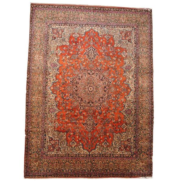 Herat Oriental Semi-antique 1940's Persian Hand-knotted Sarouk Rust/ Beige Wool Rug (9'9 x 13'4)