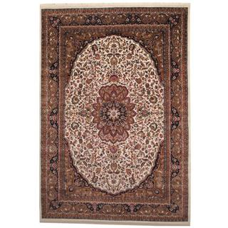Herat Oriental Indo Hand-knotted Sarouk Ivory/ Tan Wool Rug (8' x 11'6)