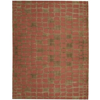 Herat Oriental Indo Hand-knotted Tibetan Green/ Salmon Wool Rug (9' x 12')