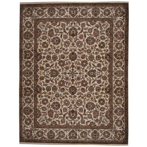 Handmade Herat Oriental Indo Mahal Ivory/ Tan Wool Rug (India) - 9'3 x 12'1