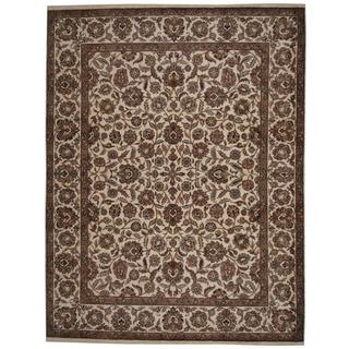 Herat Oriental Indo Hand-knotted Mahal Ivory/ Tan Wool Rug (9'3 x 12'1)