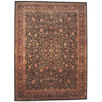 Herat Oriental Indo Hand-knotted Tabriz Black/ Red Wool Rug (9' x 12'1) - 9' x 12'1