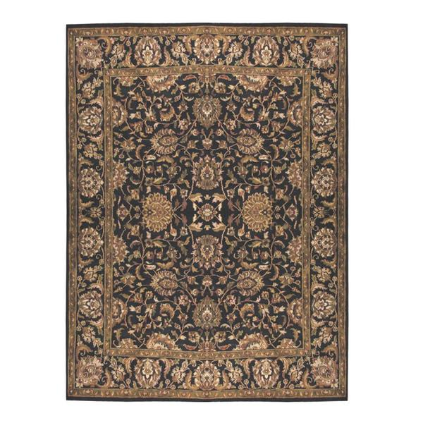 Herat Oriental Indo Hand-knotted Mahal Black/ Olive Wool Rug (9'2 x 12') - 9'2 x 12'