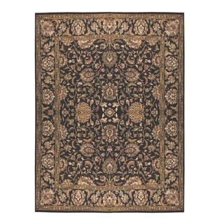 Herat Oriental Indo Hand-knotted Mahal Black/ Olive Wool Rug (9'2 x 12')
