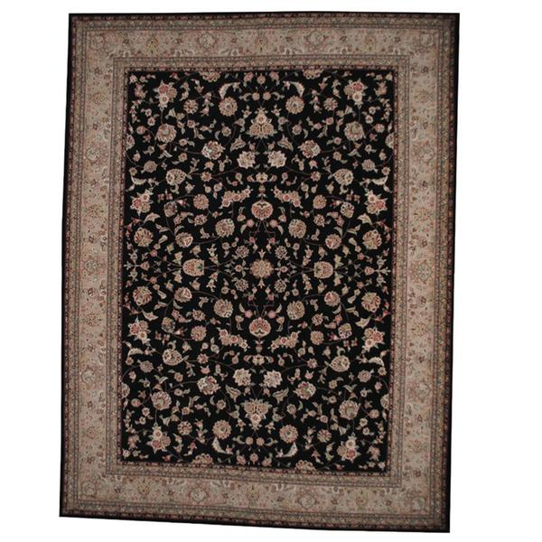 Handmade Herat Oriental Indo Tabriz Black/ Beige Wool and Silk Rug (India) - 9'1 x 12'2