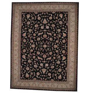 Herat Oriental Indo Hand-knotted Tabriz Black/ Beige Wool and Silk Rug (9'1 x 12'2)