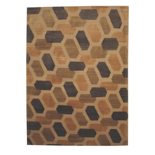 Handmade Herat Oriental Indo Tibetan Gold/ Brown Wool Rug - 8'8 x 12' (India)