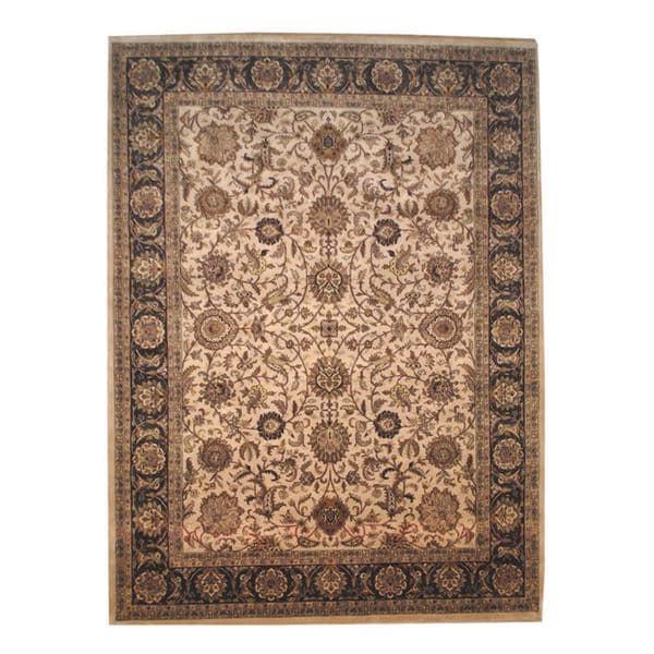 Handmade Herat Oriental Indo Mahal Beige/ Brown Wool Rug - 9' x 12'3 (India)