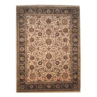 Herat Oriental Indo Hand-knotted Mahal Beige/ Brown Wool Rug (9' x 12'3) - 9' x 12'3