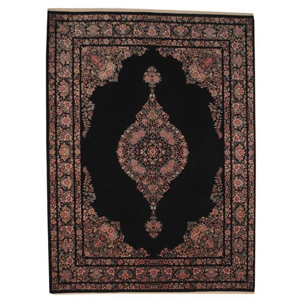 Handmade Herat Oriental Persian Kerman Black/ Ivory Wool and Silk Rug - 9'1 x 12'4 (Iran)