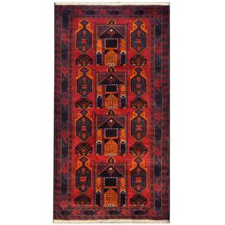 Herat Oriental Semi-antique Afghan Hand-knotted Tribal Balouchi Red/ Navy Wool Rug (3'6 x 6'7)