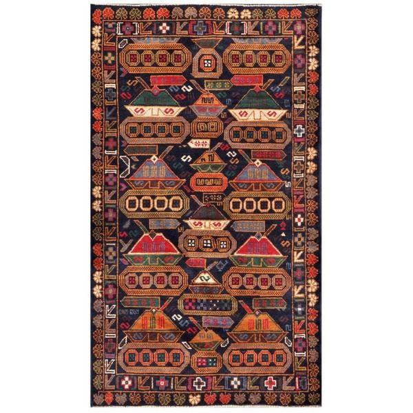Handmade Wool War Rug (Afghanistan) - 3'7 x 6'3