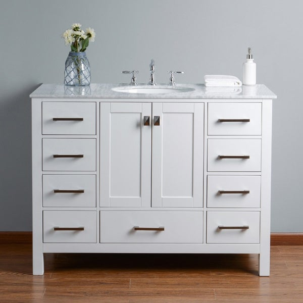 Malibu Pure White Single Sink 48-inch Bathroom Vanity with Carrara Marble Top
