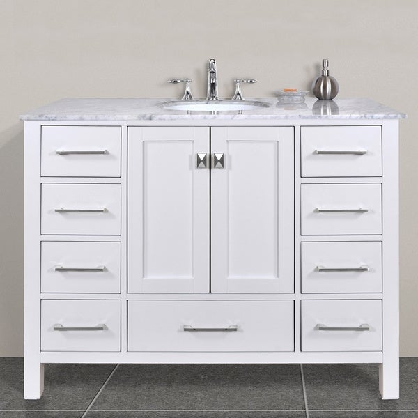Malibu pure white single sink 48 inch bathroom vanity with - 48 inch white bathroom vanity with top ...