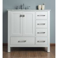 Malibu Pure White Single Sink 36-inch Bathroom Vanity