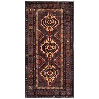 Herat Oriental Semi-antique Afghan Hand-knotted Tribal Balouchi Tan/ Green Wool Rug (3'4 x 6'9)