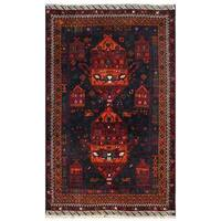 Herat Oriental Afghan Hand-knotted 1960s Semi-antique Tribal Balouchi Wool Rug (3'9 x 6') - 3'9 x 6'