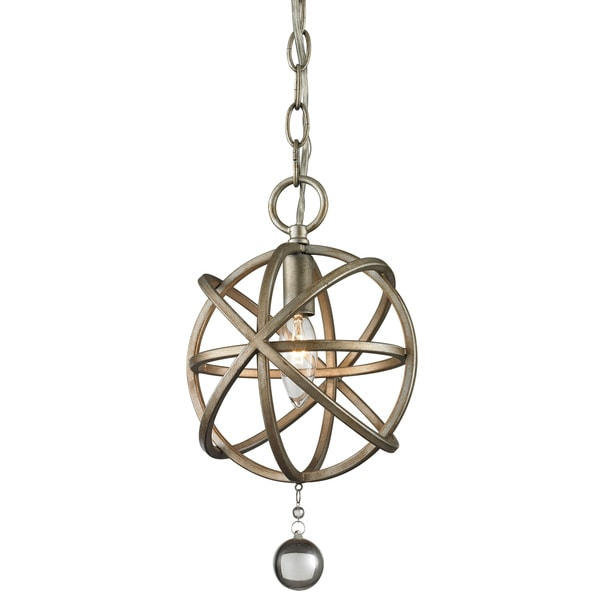 Avery Home Lighting Acadia 1-light Antique Silver/ Clear Crystal Mini Pendant