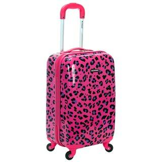 dc8cc408a4 Rockland Magenta Leopard 20-inch Lightweight Hardside Spinner Carry-on  Luggage