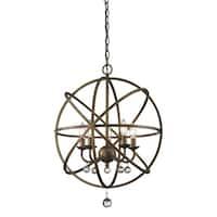 Avery Home Lighting Acadia 5-light Golden Bronze/ Clear Crystal Pendant