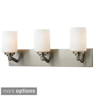 Z-Lite Matte Opal Glass and Steel 3-light Vanity Fixture