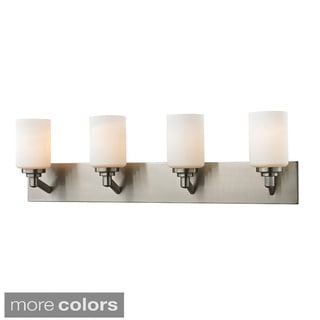 Z-Lite Matte Opal Glass and Steel 4-light Vanity Fixture