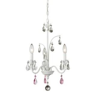 Avery Home Lighting 3-light Matte White Princess Chandelier