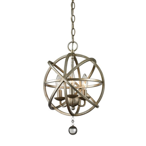 Z-Lite Acadia 3-light Antique Silver/ Clear Crystal Pendant