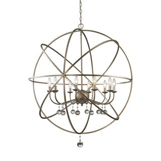 Z-Lite Acadia 10-light Antique Silver/ Clear Crystal Pendant