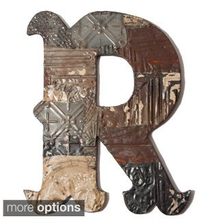 Ozark Folk Art Reclaimed Tin Letter R