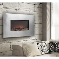 Falmelux Silver Metal 35-inch Wall Mount Electric Firebox