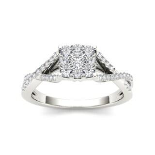 De Couer 10k Gold 1/2ct TDW Cushion Diamond Engagement Ring