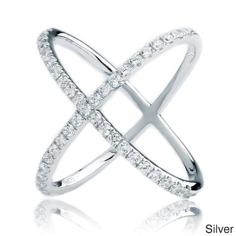 Blue Box Jewels .925 Sterling Silver Cubic Zirconia Criss-Cross X Ring