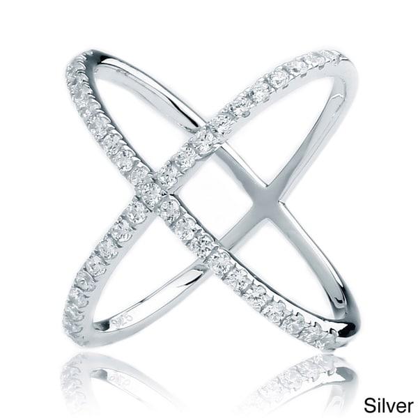 Blue Box Jewels .925 Sterling Silver Cubic Zirconia Criss-Cross X Ring