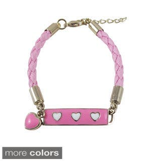 Luxiro Goldtone Girls Enamel Hearts Braided Synthetic Leather Rope ID Bracelet|https://ak1.ostkcdn.com/images/products/9243014/P16409173.jpg?impolicy=medium